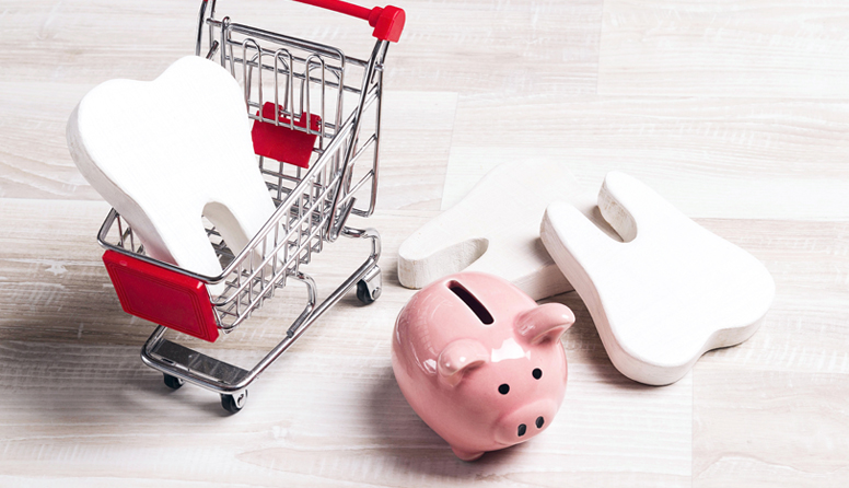healthinsurance.com the difference between dental insurance and dental discount plans, teeth with a shopping cart and a piggy bank