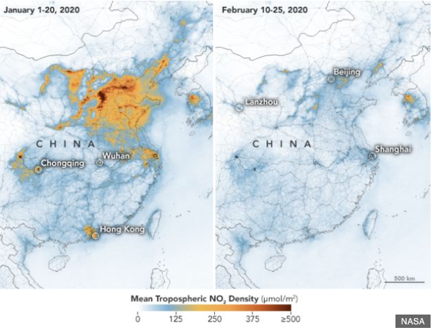 satellite images by NASA show dramatic reductions in nitrogen dioxide in China amid coronavirus pandemic