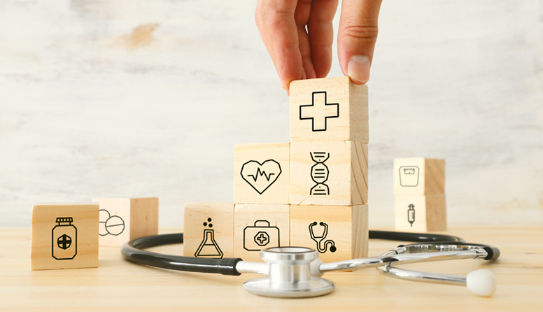 healthinsurance.com five ways telemedicine impacts healthcare, stethoscope with building blocks of medical icons